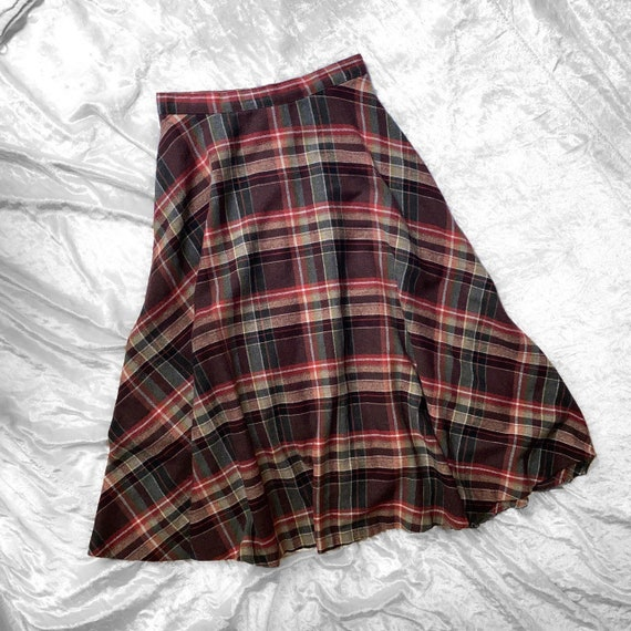 """vtg 70s wool brown and red plaid a line skirt 27"""""""