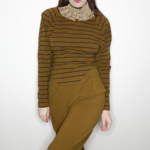 Vtg Betsey Johnson punk label 2 piece olive green