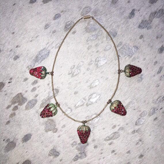 Vtg 20s - 30s strawberry rhinestone novelty charm