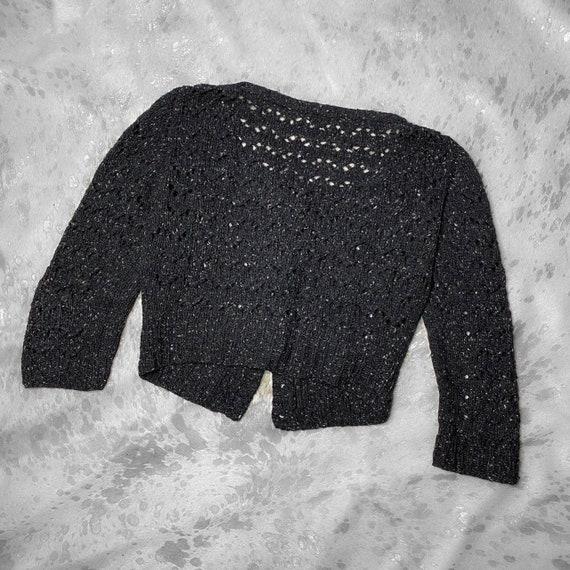 90s grunge speckled knit button semi cropped card… - image 2