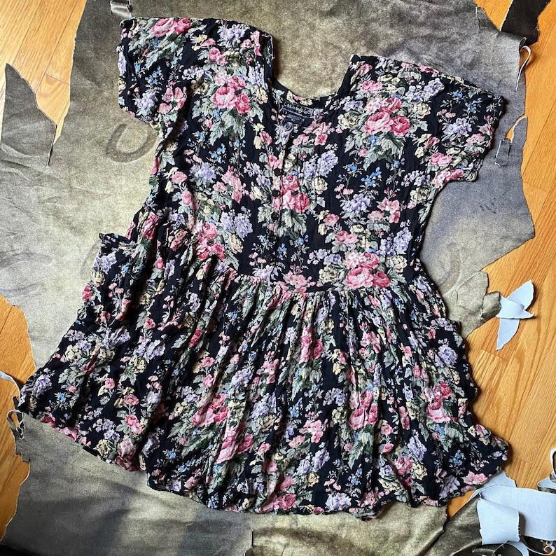 vtg 90s garden fairy grunge floral print baby doll dress size L