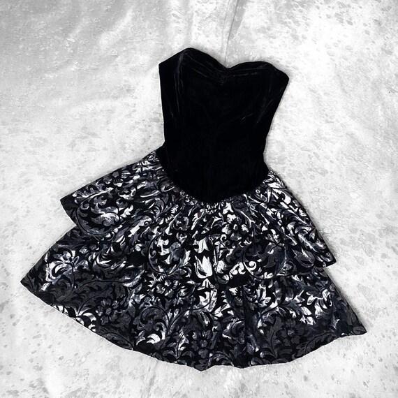 vtg 80s prom black velvet strapless mini dress wit