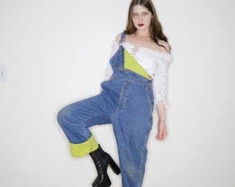 vtg 90s denim overalls with lime green fleece lining size M-L