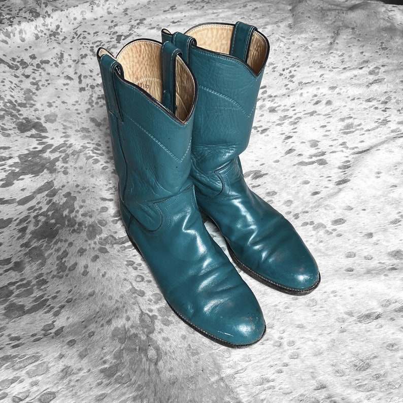 vtg 80s womens green blue justin leather cowboy boots made in usa size 7c