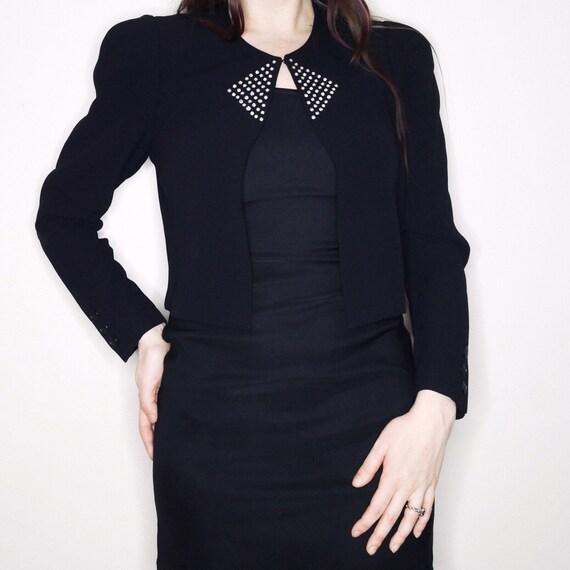 8b49074626 80s 90s vtg Sonia Rykiel cropped blazer with geometric | Etsy