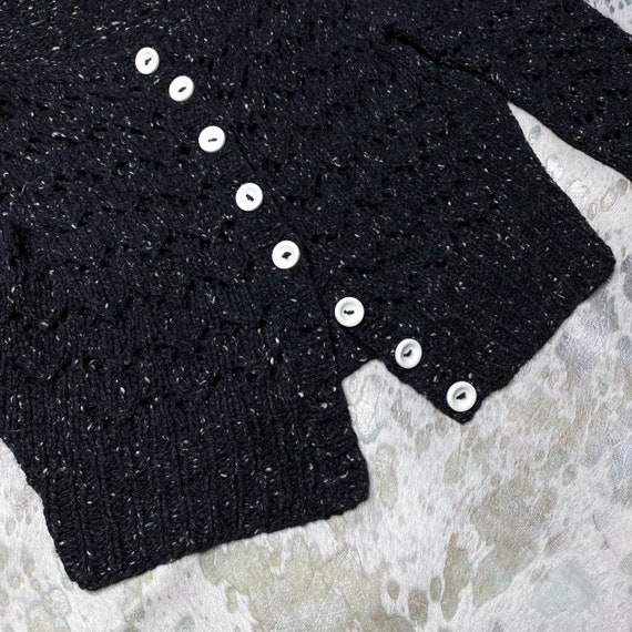 90s grunge speckled knit button semi cropped card… - image 3
