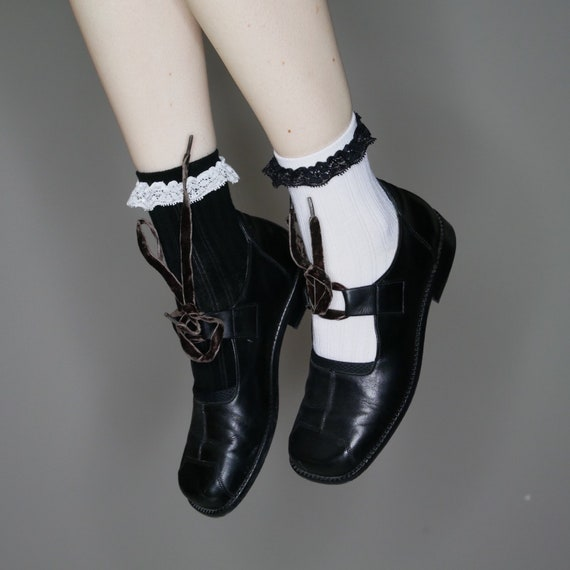 avant 8 8 laces mary minimalist black leather velvet 5 size janes with 90s garde qESwH