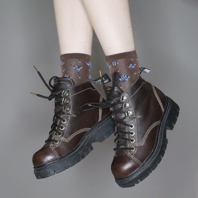 5dbb66871d9 90s brown leather lace up platform goth grunge lace up boots
