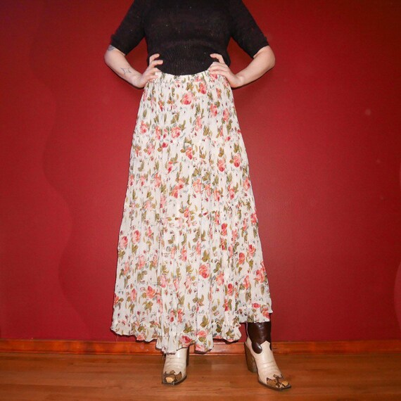 90s grunge Soaked in bleach plaid button up maxi skirt sm