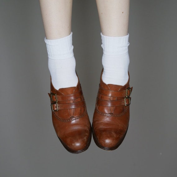 oxford size leather brown 37 buckle heels 5 strap on slip shoes 90s vtg ankle SUTwqzf