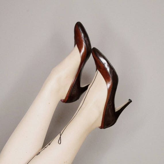 size Yves Laurent 80s brown heels Saint high 70s black 8 and 5 vintage qxAB1nF