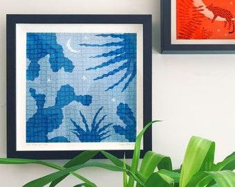 Swimming Pool Art Print // Cactus Screenprint // Limited Edition