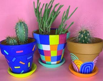 Colourful Terracotta Pot // Handpainted Plant Pot