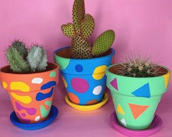 Small Plant Pot // Colourful Terracotta Pot // Handpainted Plant Pot