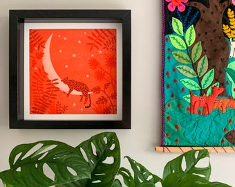 Jaguar Art Print // Moon Art Print // Giclée Print // Nursery Print