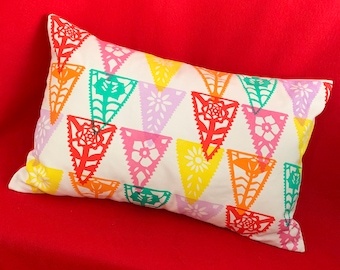 Large Colourful Papercut Cushion // Screenprinted & Handmade // Papel Picardo // Floral Cushion