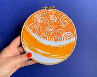 Pair of sunshine embroidery hoops // Screenprinted & Handmade // Sunshine Hoop