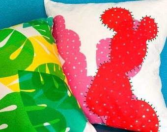 Large Cactus Cushion // Screenprinted & Handmade