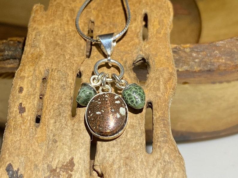 Upper Michigan Copper Firebrick Sterling Silver Necklace Michigan Greenstone Chlorastrolite