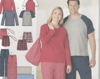 Pajama Pants Pattern Pajama Top Raglan Sleeves Misses Mens Size S - M - L uncut Simplicity 4889 Easy to Sew