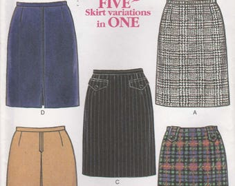 Easy Skirt Pattern 5 Styles Size 6 - 8 - 10 - 12 - 14 - 16 Uncut New Look 6675