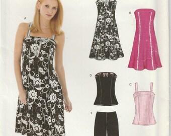 Easy Sundress Pattern Camisole Capris Straps Misses Size 6 - 8 - 10 - 12 - 14 - 16 Uncut New Look 6468