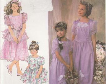 Flower Girl Dress Pattern Girls Size 2 - 3 - 4 - 5 - 6 - 6x Uncut Simplicity 7082