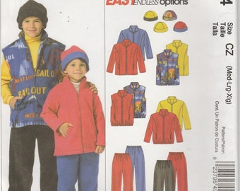 Kids Jacket Pattern Pants Vest Hat Fleece Boys and Girls Size Med - Large - X Large Uncut McCalls 4964 EASY
