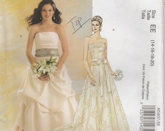 Wedding Dress Pattern Strapless, Drape Effect Skirt Gown Misses Size 14 - 16 - 18 - 20 McCalls 5807 Bridal Elegance