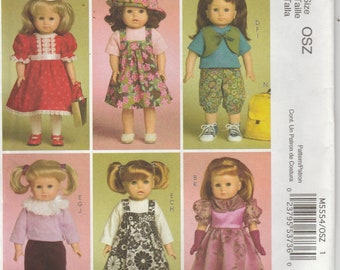 Doll Clothes Pattern for 18 Inch Doll Dress Jumper Pants Shirt Vest Hat more Uncut McCalls 5554