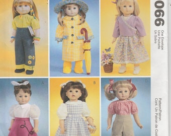 Doll Clothes Pattern for 18 Inch Doll Raincoat, Skirt, Dress Jeans more Uncut McCalls 4066