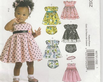 Toddler Girl's Dress Pattern Dress and Panties 6 Great Looks Girls Size S - M - L - XL Uncut McCalls 5791 EASY