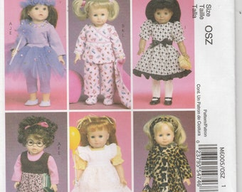 Doll Clothes Pattern for 18 Inch Doll Pajamas, Coat, Dress, Tu Tu more Uncut McCalls 6005