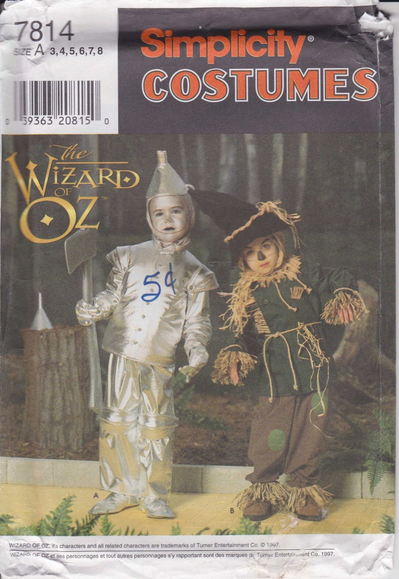Scarecrow Costume Pattern Tin Man Costume Child Size 3 - 4 - 5 - 6 - 7 - 8  Uncut 1997 Simplicity 7814 Wizard of Oz