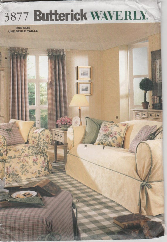 Brilliant Sofa Cover Pattern Loveseat Chair Ottoman Cover Uncut Butterick 3877 Waverly Andrewgaddart Wooden Chair Designs For Living Room Andrewgaddartcom