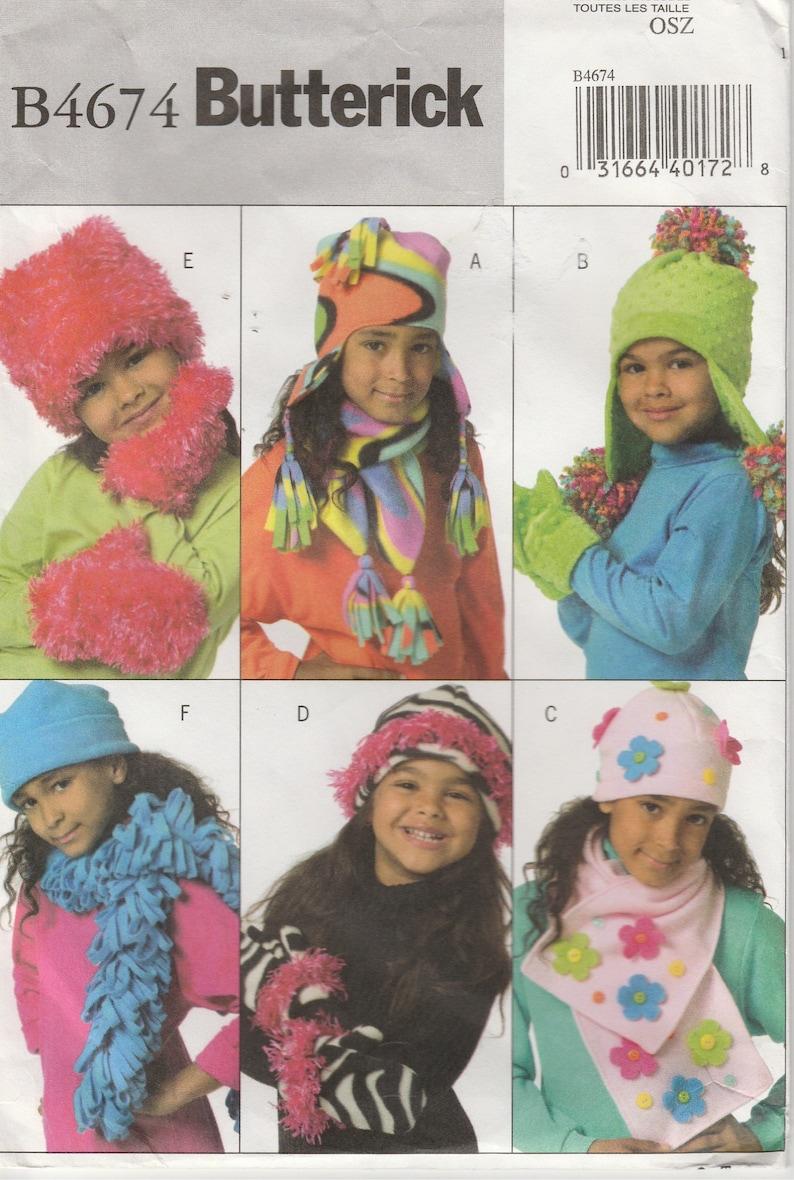 1a0095bcfd6 Winter Hat Pattern Fleece Scarf Mittens Girls Uncut Butterick