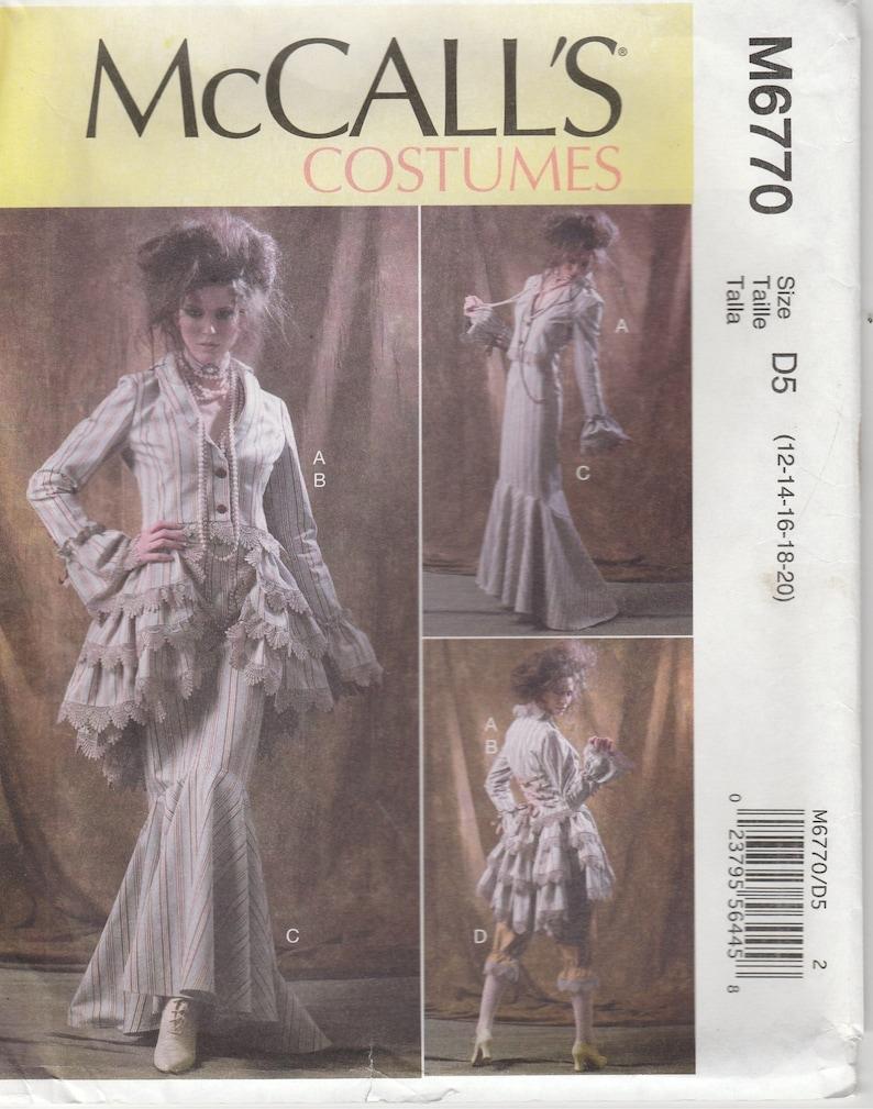 Burlesque Dress Pattern Steampunk Bustle Misses Size 12 - 14 - 16 - 18 - 20  Uncut McCalls 6770