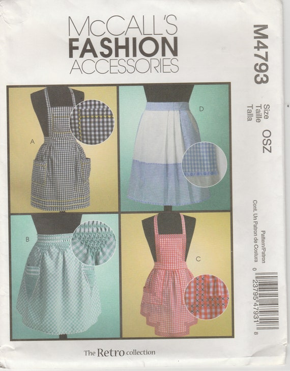 Apron Pattern Smocking Instructions Half Apron And Full Apron Etsy