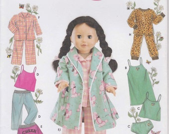 Doll Clothes Pattern for 18 Inch Doll Pajamas Robe Pants Shorts Camisole Panties Uncut Simplicity 5276