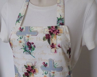 Full Apron - Crosses and Flowers