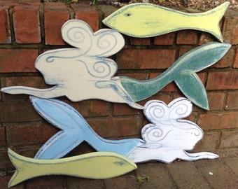 Mermaid Sign Wall Art Beach House Decor by CastawaysHall