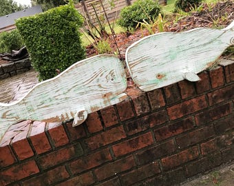 Small Whale Sign ONE White Green Thick Vintage Weathered Wood Beach House Coastal Nautical Decor by CastawaysHall - Ready to Ship
