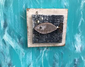 Key Jewelry Holder Hook Rack Vintage Clock Key Fish Beach Lake House Art Block Wall Decor by CastawaysHall- Ready to Ship