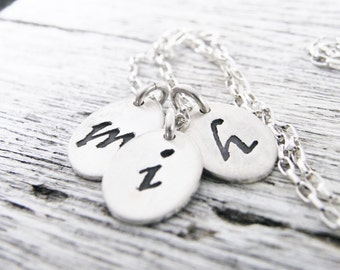 long initial necklace / personalized initial necklace / hand stamped mommy necklace