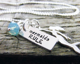 mermaids rule necklace/ mermaid necklace/ mermaid charm necklace