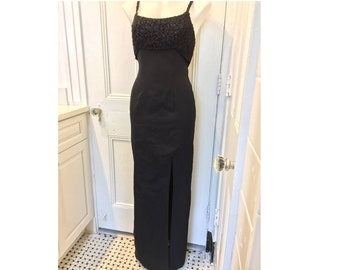 630372b4610a 1960s Long Black Formal Wiggle Dress Audrey Hepburn Holiday Party