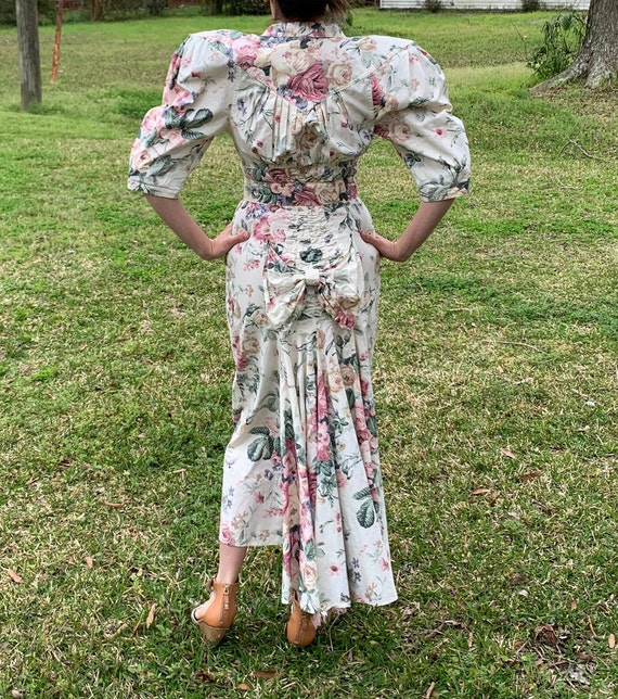 80s does 40s Vtg Floral BIG PUFF SLEEVES wiggle D… - image 2