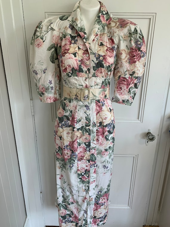 80s does 40s Vtg Floral BIG PUFF SLEEVES wiggle D… - image 4
