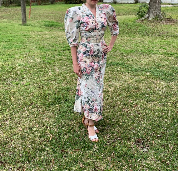 80s does 40s Vtg Floral BIG PUFF SLEEVES wiggle D… - image 1