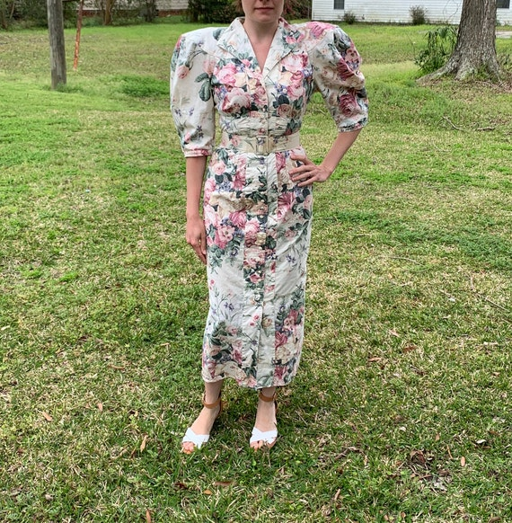 80s does 40s Vtg Floral BIG PUFF SLEEVES wiggle D… - image 3